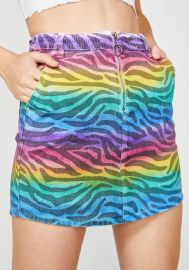 Zebra Spectrum Denim Skirt by Dolls Kill at Dolls Kill