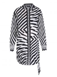 Zebra-Striped Silk Long Shirt by Versus Versace at Ikrix