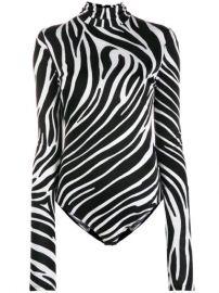Zebra-print Jersey Bodysuit by Versace  at Farfetch