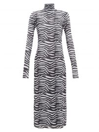 Zebra-print metallic-lined mesh midi dress at Matches