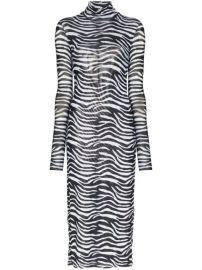 Zebra-print metallic-lined mesh midi dress at Farfetch
