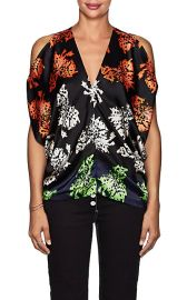 Zero + Maria Cornejo Kou Floral Stretch-Silk Blouse at Barneys Warehouse
