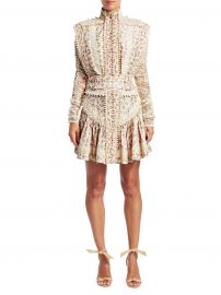 Zimmermann - Eye Spy Floral Twill  amp  Lace Mini Dress at Saks Fifth Avenue