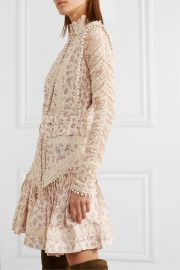 Zimmermann - Sabotage crochet-trimmed floral-print silk-georgette and lace mini dress at Net A Porter