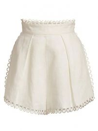 Zimmermann - Allia High-Waist Linen Scallop Shorts at Saks Fifth Avenue