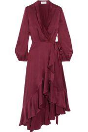 Zimmermann - Asymmetric washed-silk wrap midi dress at Net A Porter