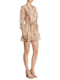 Zimmermann - Printed Folly Neck Tie Silk Romper at Saks Fifth Avenue
