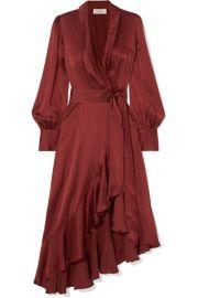 Zimmermann - Ruffled silk-satin wrap dress at Net A Porter
