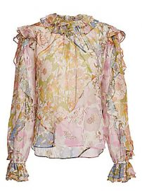 Zimmermann - Super 8 Floral Ruffle Silk-Blend Blouse at Saks Fifth Avenue