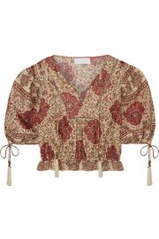 Zimmermann - Tulsi cropped crochet-trimmed printed linen blouse at Net A Porter