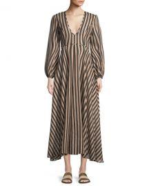 Zimmermann Jaya Plunge Long Striped Cotton Dress at Neiman Marcus