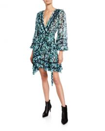 Zimmermann Moncur Floral-Print Wrap Mini Dress w  Lace Trim at Neiman Marcus