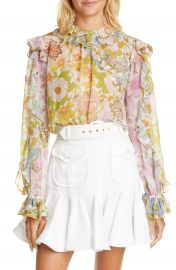 Zimmermann Super 8 Ruffle Floral Print Cotton  amp  Silk Shirt   Nordstrom at Nordstrom