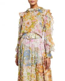 Zimmermann Super Eight Floral Print Chiffon Blouse at Neiman Marcus