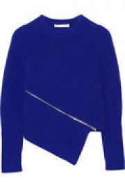 Zip-detailed asymmetric cotton-blend sweater at The Outnet