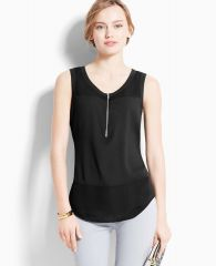 Zip neck shell at Ann Taylor