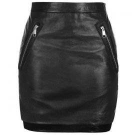 Zip patch leather mini skirt at Topshop