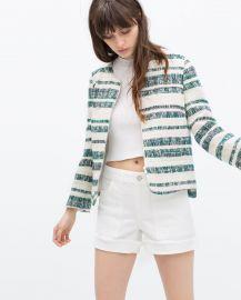 Zipped Striped Blazer at Zara