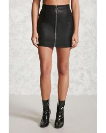 Zipper Faux Leather Mini Skirt at Forever 21