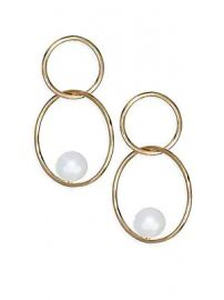 Zo   Chicco - 6MM Pearl  amp  14K Gold Double Hoop Earrings at Saks Fifth Avenue