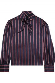 Zoe tie-neck striped satin-twill blouse at The Outnet