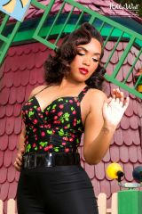 Zoeey Top in Black Cherry at Pinup Girl Clothing