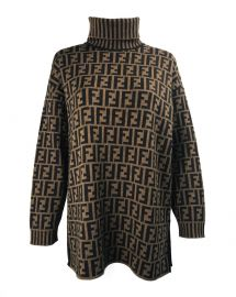 Zucca Logo Monogram Print Turtleneck Sweater by Fendi at Farfetch