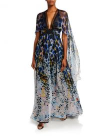 Zuhair Murad Long Dress With Cape at Neiman Marcus