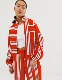 adidas Originals x Ji Won Choi mixed stripe track jacket in red   ASOS at Asos