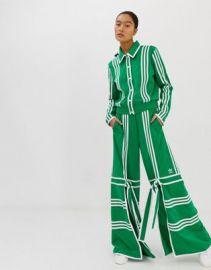 adidas Originals x Ji Won Choi split front track pants in green   ASOS at Asos