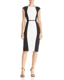 adrianna papell Belted Color-Block Dress at Bloomingdales