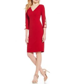 adrianna papell Spliced Sleeve Crepe Sheath Dress at Dillards