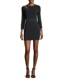 alc Taraji Long-Sleeve Studded Fitted Mini Dress at Neiman Marcus