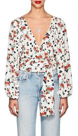 alc CARLA FLORAL SILK TIE-FRONT BLOUSE at Barneys