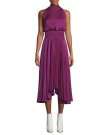 alc Renzo High-Neck Sleeveless Pleated Satin Midi Cocktail Dress at Bergdorf Goodman