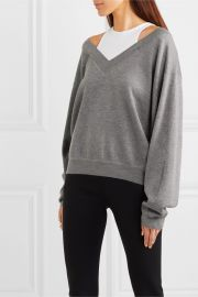 alexanderwang t - Cropped layered wool and stretch-cotton jersey sweater at Net A Porter