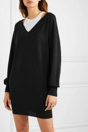 alexanderwang t - Layered merino wool and ribbed stretch cotton-jersey mini dress at Net A Porter