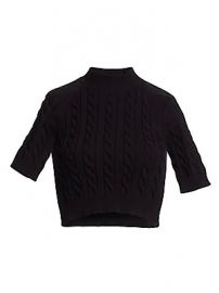 alexanderwang t - Cable-Knit Short-Sleeve Crop Sweater at Saks Fifth Avenue