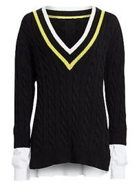 alexanderwang t - Layered Varsity Cable-Knit Sweater at Saks Fifth Avenue