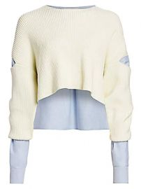 alexanderwang t - Mixed-Media Cropped Sweater at Saks Fifth Avenue