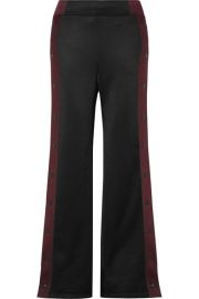 alexanderwang t - Striped coated-French terry wide-leg track pants at Net A Porter