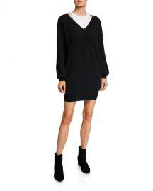 alexanderwang t Bi-Layer Long-Sleeve Sweater Dress at Neiman Marcus