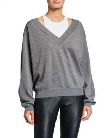 alexanderwang t Bi-Layer V-Neck Wool Sweater at Neiman Marcus