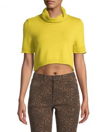 alexanderwang t Cropped Turtleneck Short-Sleeve Sweater at Neiman Marcus