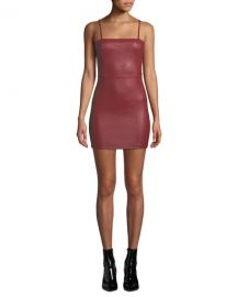 alexanderwang t Fitted Leather Cami Mini Dress at Neiman Marcus