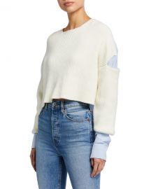 alexanderwang t Ribbed Bilayer Cropped Pullover at Neiman Marcus