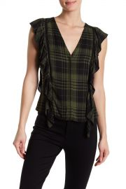 alice   olivia   Janet Ruffled Plaid Top   Nordstrom Rack at Nordstrom Rack