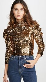 alice   olivia Brenna Sequin Fitted Puff Sleeve Top at Shopbop