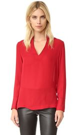 alice   olivia Daina Side Slit Silk Blouse at Shopbop