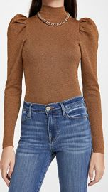 alice   olivia Issa Turtleneck Puff Sleeve Fitted Pullover at Shopbop